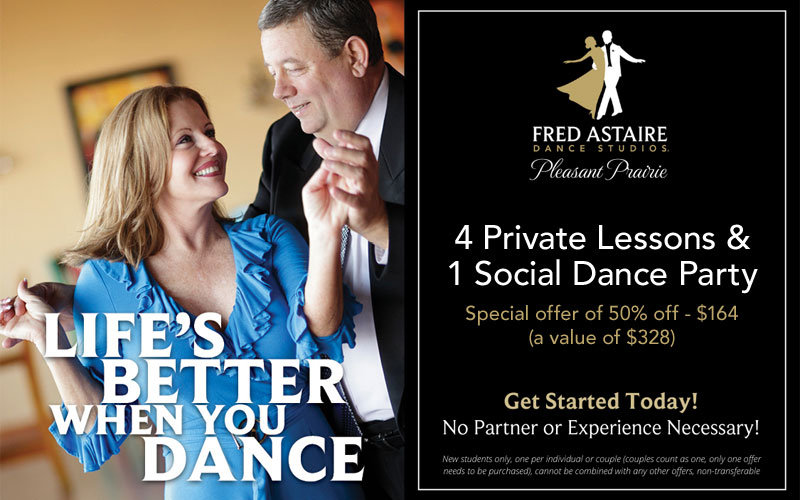 Pleasant Prairie Dance Inc - 4 Private Lessons & 1 Social Dance Party for only $164!
