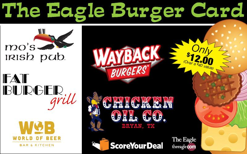 The Eagle - Shopbrazos Score Your Deal - Try six burgers from five great local restaurants for Only $12