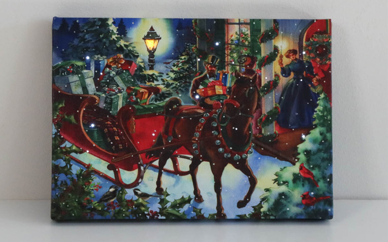 Quad City Arts | Festival Of Trees - One Horse Sleigh Lighted Tabletop Picture