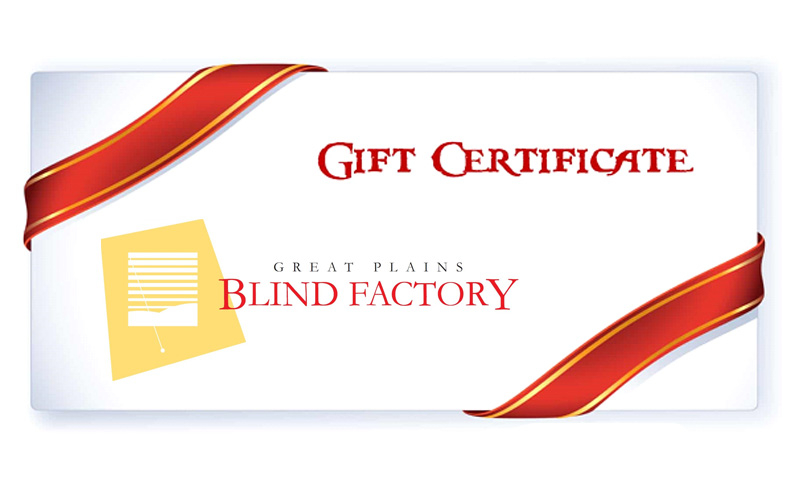 Great Plains Blind Factory - Great Plains Blind Factory Gift Card